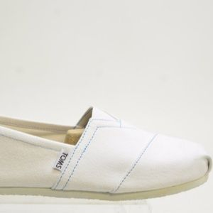 NWB* Toms Men's White Canvas Slip On LOAFERS Sz 12